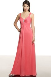 Empire Ruched Strapped Sleeveless Chiffon Bridesmaid Dress With Broach
