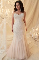 Mermaid Sweetheart Tulle Plus Size Wedding Dress With Lace Up