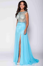 A-Line Chiffon Beaded Bodice Prom Dress With Bateau Neckline