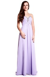 Sleeveless Ruched Sweetheart Chiffon Prom Dress