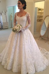 Elegant Lace Illusion Sleeve Floor-length Bridal Gown with Cathedral Train