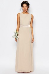 Floor-Length Sleeveless Bowed Bateau Neck Chiffon Bridesmaid Dress