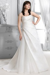 Satin Side-Ruched Floor-Length Dress With Corset Back
