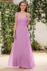 Sleeveless V-Neck A-Line Floor-Length Bridesmaid Dress With Crisscross Ruching