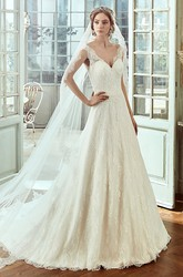 Sweetheart Cap-Sleeve Lace Wedding Dress With Brush Train And Low-V Back