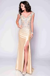 V-Back Cap Sleeve Sheath Sequined Prom Dress With Side Split