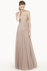 Bateau 3-4 Sleeve Lace Top Tulle Long Prom Dress With Flower And Illusion Back