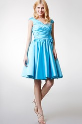 Cap-sleeved V Neck Satin Bridesmaid  Dress
