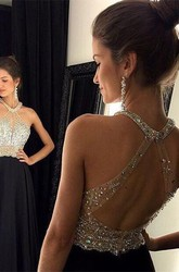 Chic Crystals Beadings Chiffon Prom Dress 2018 A-line Halter Sleeveless