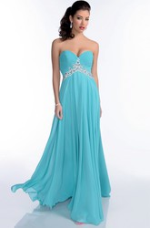 Empire Long Chiffon A-Line Prom Dress With Crystal Detailing