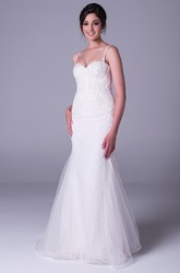 Trumpet Appliqued Long Spaghetti Sleeveless Tulle Wedding Dress