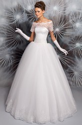 A-Line Floor-Length Appliqued Off-The-Shoulder Short Sleeve Tulle Wedding Dress