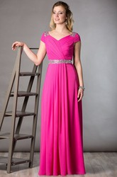 Cap Sleeve Chiffon Long Mother Of The Bride Dress With Crystal Waist And Lace Cowl Back