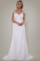 Sheath Floor-Length V-Neck Sleeveless Lace Chiffon Wedding Dress With Criss Cross And Draping