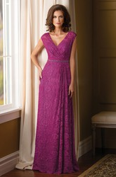 Cap-Sleeved V-Neck Lace Mother Of The Bride Dress With Beadings And V-Back