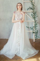 Straps Tulle Beaded Lace Embroidered Wedding Dress