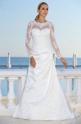 A-Line Long-Sleeve Scoop-Neck Maxi Draped Satin Wedding Dress With Appliques And Illusion