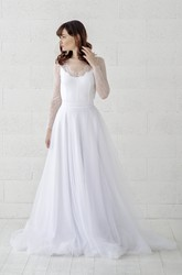 Long Sleeve Illusion Lace Button Back Scalloped Tulle Wedding Dress
