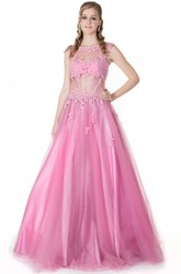 A-Line Jewel-Neck Appliqued Floor-Length Cap-Sleeve Tulle&Satin Prom Dress