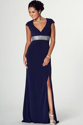Floor-Length Cap Sleeve V-Neck Jeweled Jersey Prom Dress With Brush Train
