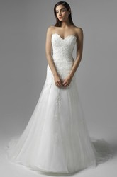 A-Line Sweetheart Tulle&Lace Wedding Dress