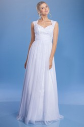 A-Line Floor-Length Appliqued V-Neck Cap-Sleeve Tulle&Satin Wedding Dress