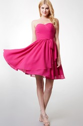 Short Strapless Dress With Sweetheart Neckline and Flyaway Skirt Beautiful
