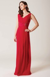 Sheath Floor-Length Ruched Sleeveless V-Neck Chiffon Bridesmaid Dress