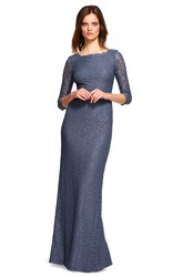 Sheath 3-4-Sleeve Bateau-Neck Long Split-Back Lace Bridesmaid Dress