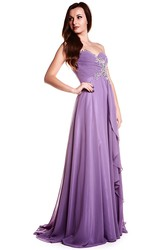 Sleeveless Beaded Sweetheart Chiffon Prom Dress
