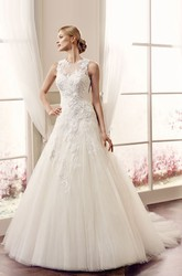 Ball-Gown Sleeveless Appliqued Maxi Jewel Lace&Tulle Wedding Dress With Illusion Back And Court Train