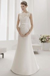 Lace Top Sheath Satin Bridal Gown With Belt