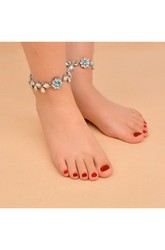Vintage Ethnic Style Beach Sandals Diamond Jewelry Diamond Anklet