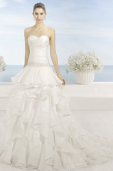 A-Line Sweetheart Ruffled Floor-Length Organza Wedding Dress With Criss Cross And Waist Jewellery