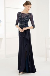 Sheath Floor-Length Beaded Half-Sleeve Scoop-Neck Chiffon Prom Dress With Draping
