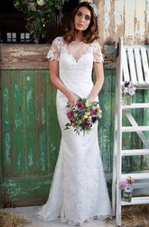 Sheath Floor-Length Bateau-Neck Short-Sleeve Lace Wedding Dress With Appliques And Illusion
