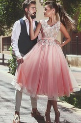 A-line Tea-length Sleeveless V-neck Appliques Flower Pleats Sash Ribbon Lace Tulle Homecoming Dress