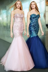 Mermaid Sweetheart Beaded Sleeveless Tulle Prom Dress With Low-V Back