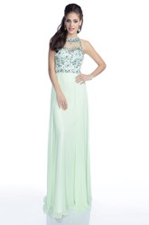 A-Line Chiffon Sleeveless Prom Dress Featuring Crystal Bodice And Keyhole Back