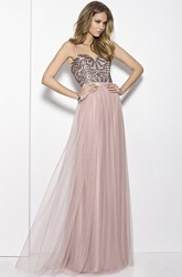 A-Line Sleeveless Strapped Beaded Maxi Tulle Prom Dress With Pleats