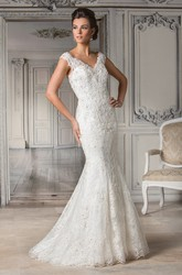 Cap-Sleeved V-Neck Mermaid Gown With Allover Appliques
