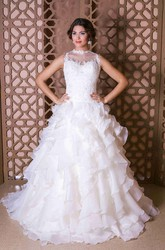A-Line Sleeveless Tiered Maxi High-Neck Organza Wedding Dress With Appliques And Ruffles