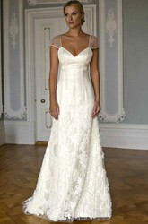 A-Line Cap-Sleeve Floor-Length V-Neck Appliqued Satin Wedding Dress With Beading