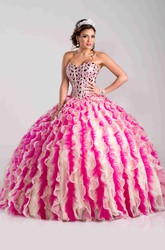 Organza And Tulle Ball Gown With Ruffles And Rhinestones