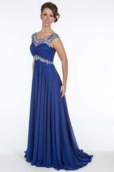 A-Line Beaded Empire Long Scoop Cap-Sleeve Chiffon Prom Dress With Waist Jewellery And Ruching