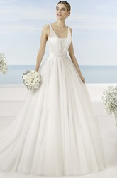 A-Line Beaded Sleeveless Long V-Neck Tulle Wedding Dress With Bow And Low-V Back