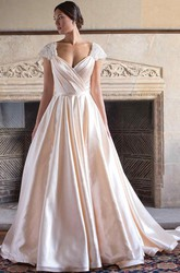 A-Line Cap-Sleeve V-Neck Satin Wedding Dress With Criss Cross And Sweep Train