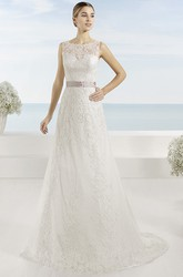 A-Line Sleeveless Appliqued Bateau Floor-Length Lace Wedding Dress With Bow And Illusion Back