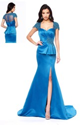 Trumpet Cap-Sleeve Satin Illusion Dress With Peplum And Split Front