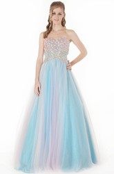 A-Line Sweetheart Crystal Sleeveless Long Tulle Prom Dress